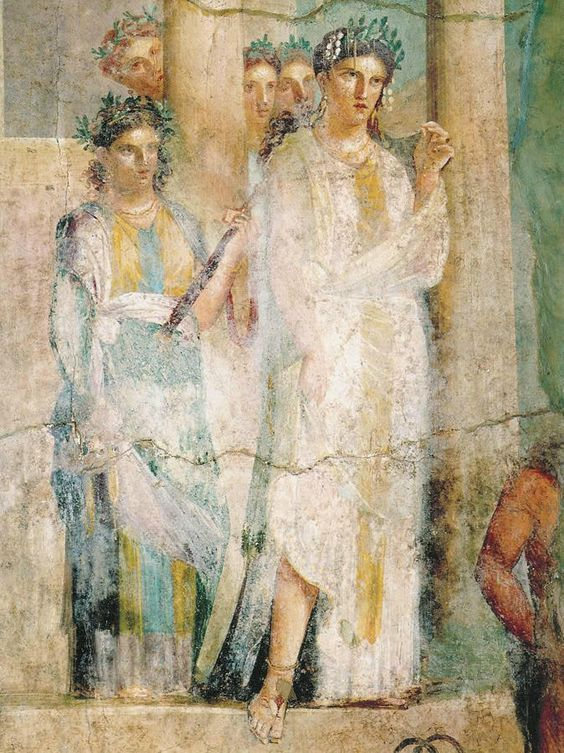 Aristocratic roman women from a mural at pompeii roman for Ancient roman mural