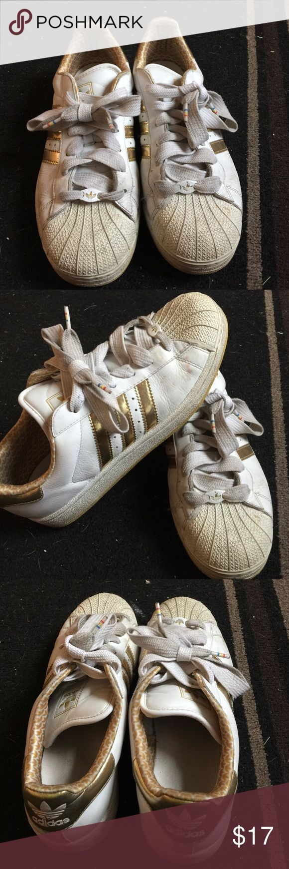 Adidas sneakers super star gold Gold and white!  Super star edition Adidas Shoes Sneakers