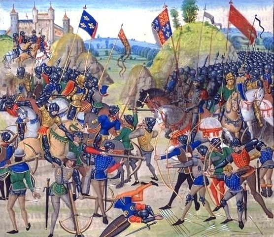 Battle of Crécy between the English and French in the Hundred Years' War. (wiki: http://en.wikipedia.org/wiki/File:Battle_of_crecy_froissart.jpg    From a 15th-century illuminated manuscript of Jean Froissart's Chronicles (BNF, FR 2643, fol. 165v). Bibliotheque Nationale de France, website: www.bnf.fr . Full chronicles downloadable: http://www.medievalist.globalfolio.net/eng/f/index.php
