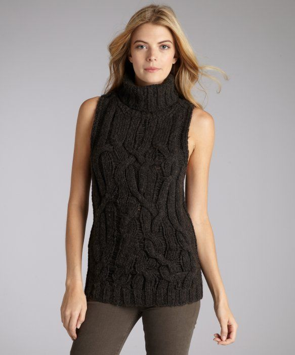theyskens : brown wool blend cable knit sleeveless turtleneck sweater : style # 320065601
