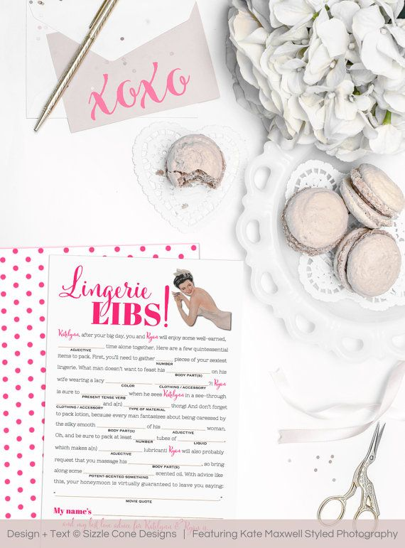 Lingerie Lib Bachelorette Party Game - Retro Housewife Bridal Shower Printable OR Printed - Personalized