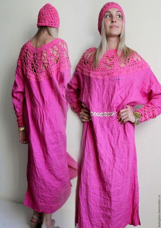 Robes Fabriques à la main. Robe en lin «Seraphim et fuchsia. »Amour Boho. Boutique en ligne Salon maîtres. Solide, robe d'été