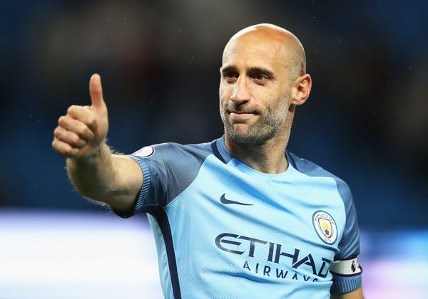 Pablo Zabaleta Photos Photos - Pablo Zabaleta of Manchester City shows appreciation to the fans after the Premier League match between Manchester City and West Bromwich Albion at Etihad Stadium on May 16, 2017 in Manchester, England. - Manchester City v West Bromwich Albion - Premier League