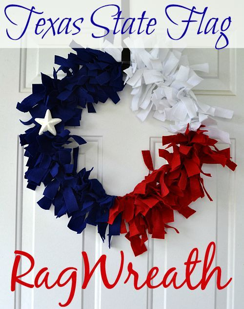 Looking for an awesome craft to showcase your love for Texas? This DIY Texas State Flag Rag Wreath should do the trick!