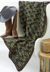 Manly Man Throw    By: Red Heart Yarn    Use this free crochet pattern to make the manly man throw. He'll love to wrap up in it. It's an easy crochet pattern that uses Red Heart Super Saver yarn. Camouflage colors are just what a man loves. For other great crochet afghan patterns check out this collection.