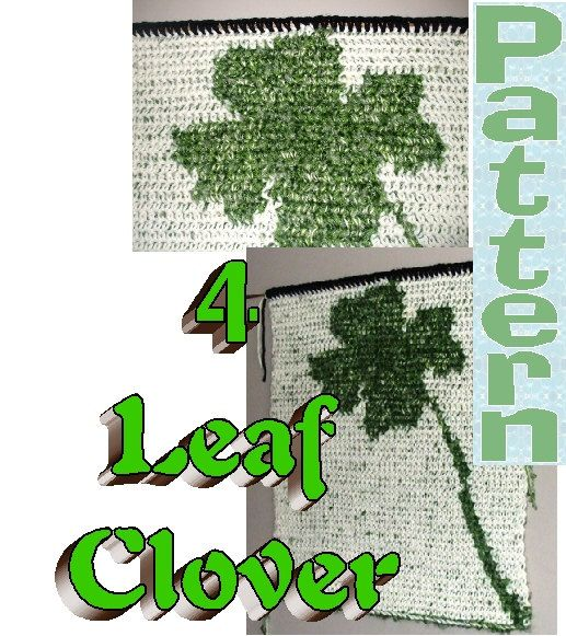 Four Leaf Clover PATTERN  Tapestry Crochet  Colorwork  by Sydric, $2.40