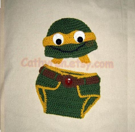 Baby NinJa Turtle Hat and Diaper Cover Set Photo prop  by Cathyren, $6.50