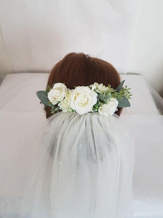Artificial White Floral Bridal Hair Piece Wedding Hair Comb Silk