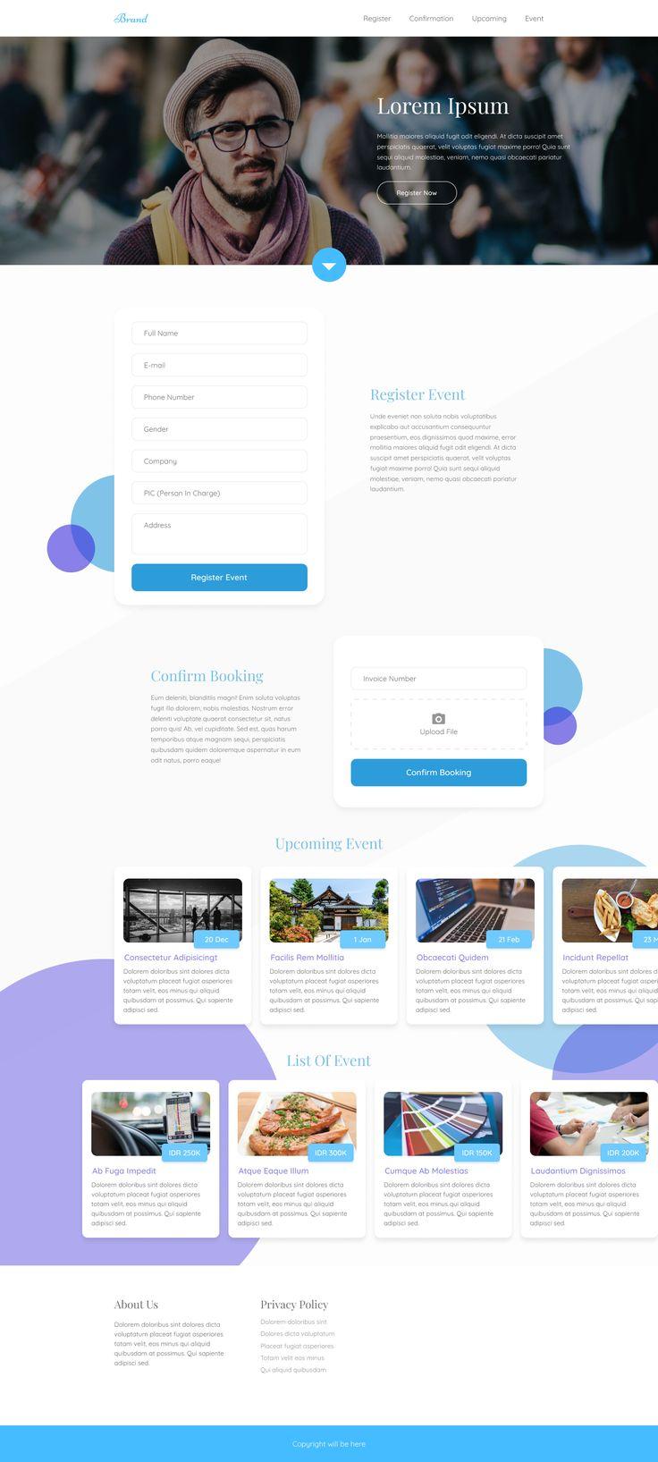 Simple landing page for event list & register