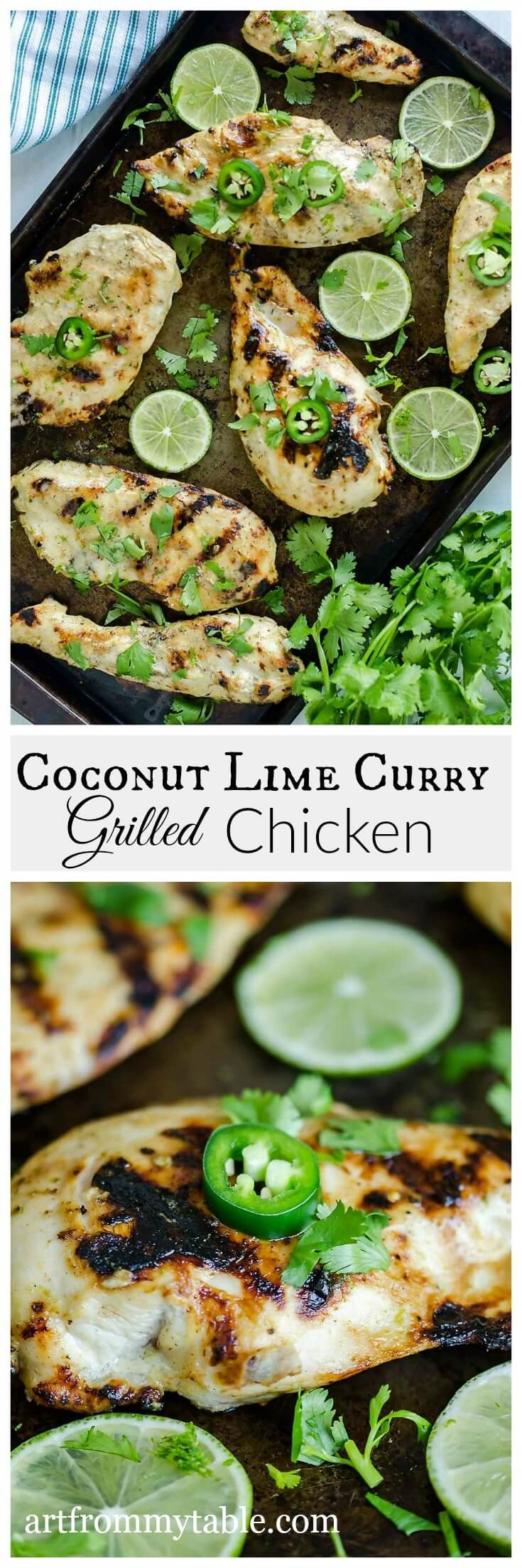 Looking for a healthy grilled chicken? This Coconut Lime Chicken Recipe is tender, juicy, and packed with flavors of coconut, lime and a hint of curry.