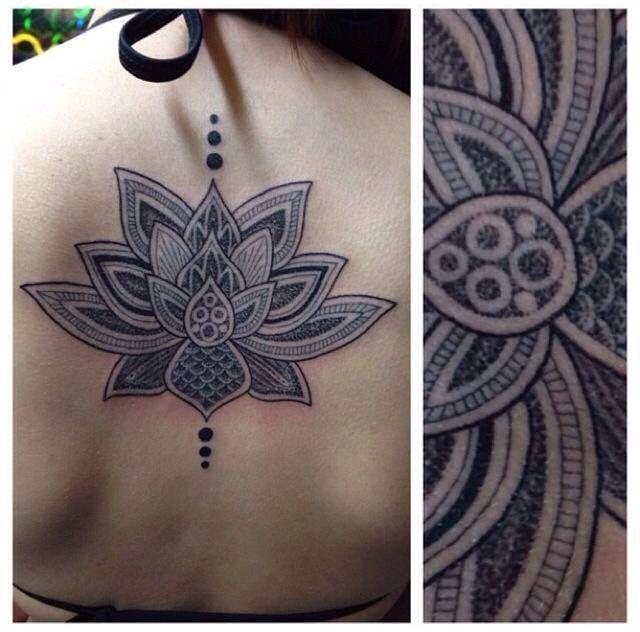 Dots lotus back black white tattoo