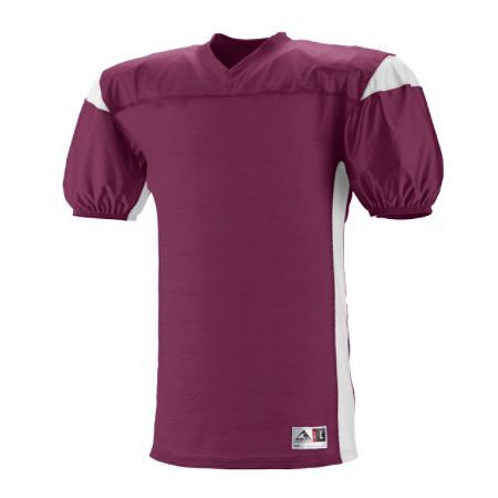 Maroon and white jersey. Custom team sportswear. Visit Unitedteamsports.com to add your team's logo.