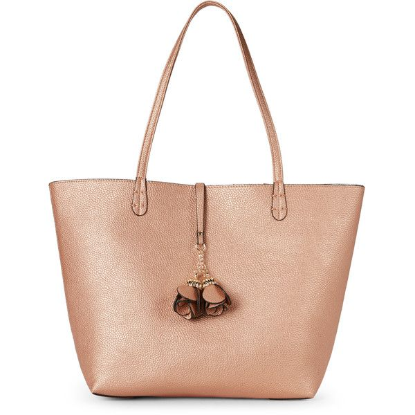 Imoshion Rose Gold & Silver  Bag-In-Bag Reversible Tote ($35) ❤ liked on Polyvore featuring bags, handbags, tote bags, red, red purse, flower tote bag, tote handbags, silver tote and silver tote bag