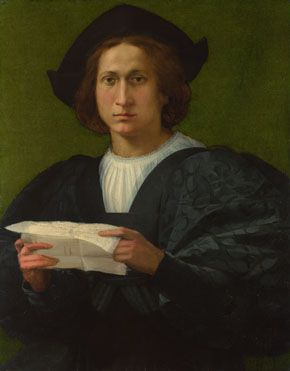 Rosso Fiorentino - Portrait of a Young Man holding a Letter,  1518.