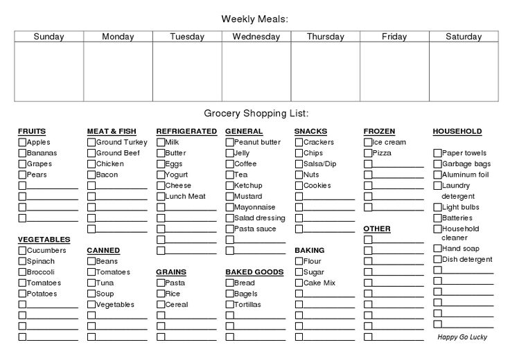Printable Weekly Meal Planner & Grocery List | Stuff to ...