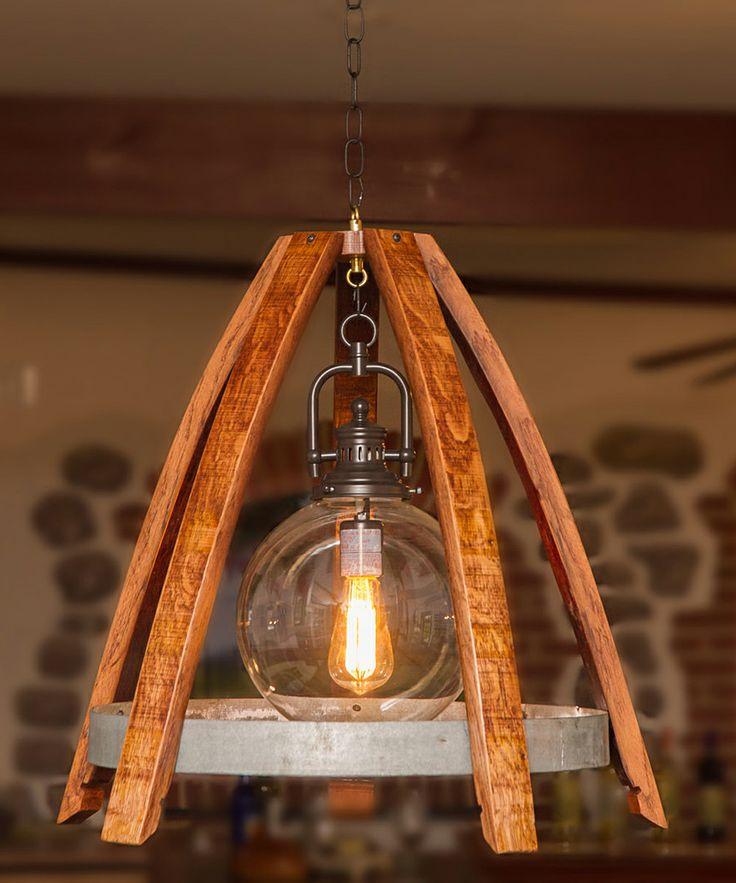 Reverse Wine Stave Globe Chandelier