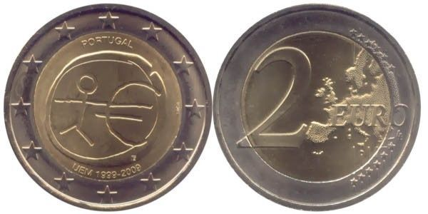 Portugal, 2 Euro, 2009, European Monetary Union, 10th Anniversary, UNC