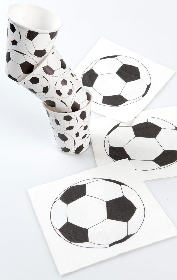 20 tovaglioli di carta stampata con pallone da calcio 33 x 33cm-1