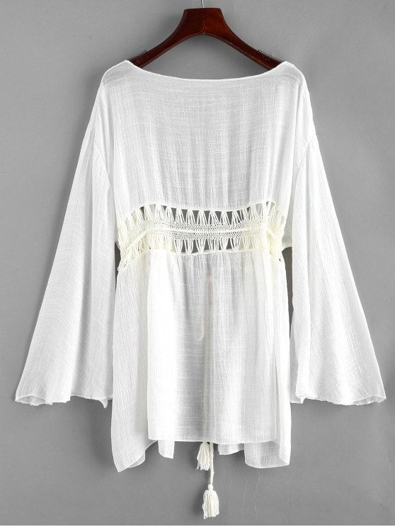 c836b339bed33 Tie Tassels Crochet Panel Cover-up - WHITE ONE SIZE - Long Sleeve Tassel  Front Tie W Crochet - easy