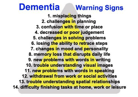 Various warning signs as they progress for a person facing dementia and possibly leading to alzheimer's disease.