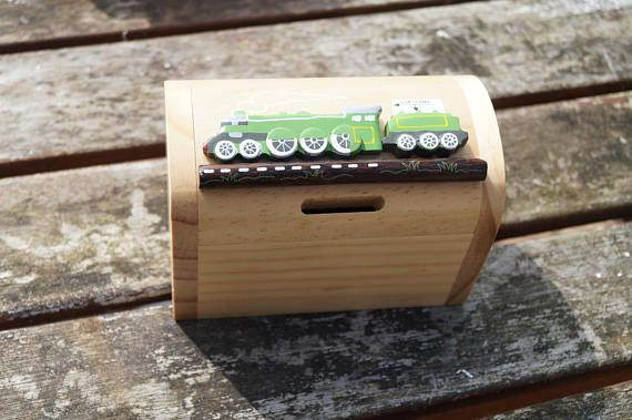 Childrens wooden money box personalised money box train