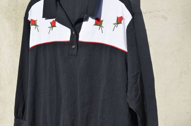 Vintage Black White Red Rockabilly Shirt Retro Bowling Shirt Red Roses Western Wear Collar Shirt Long Sleeves Buttons up Short Elastic Waist by SerialMateriaL on Etsy