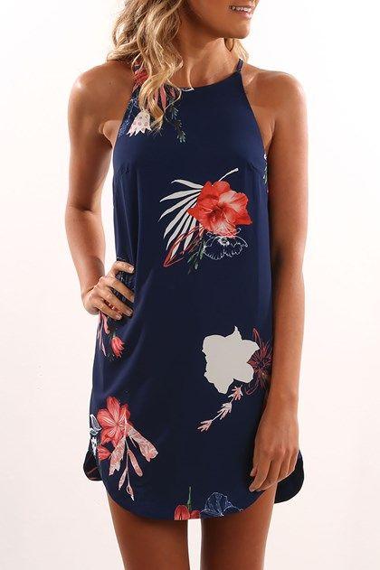 Diana Dress Navy Floral