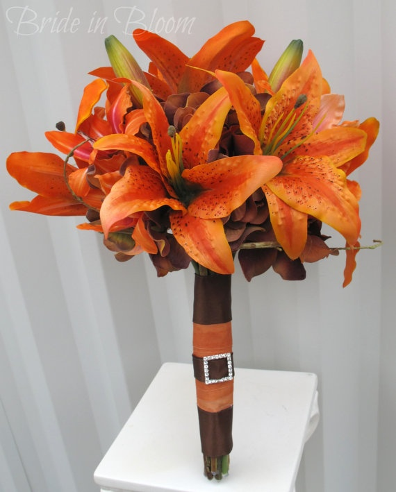 Tiger lily Wedding Bouquet silk bridal by BrideinBloomWeddings, $120.00