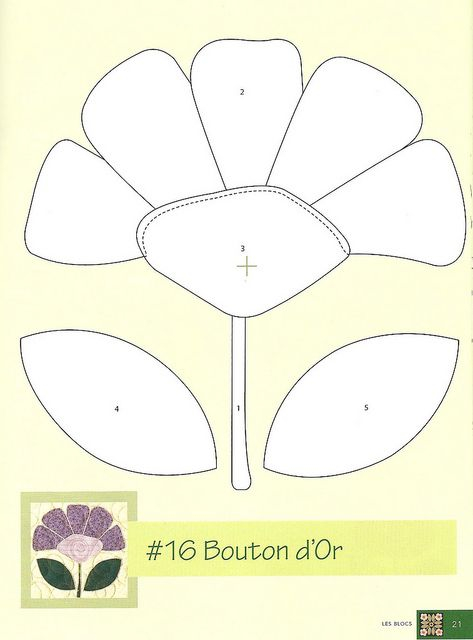 flower applique pattern this would be cool to do with felt on cardboard or construction paper.