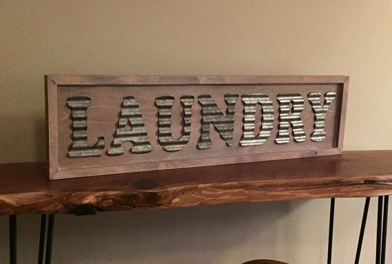 Corrugated Metal Laundry Sign White Washed Sign Wooden