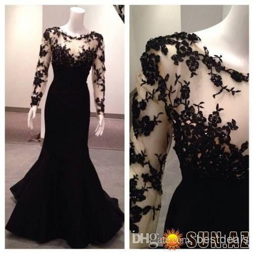 Wholesale cheap black lace evening gowns online, 2014 spring summer - Find best black lace applique beads sheer evening dresses with long sleeve and high neck floor length long mermaid prom dresses at discount prices from Chinese evening dresses supplier on DHgate.com.