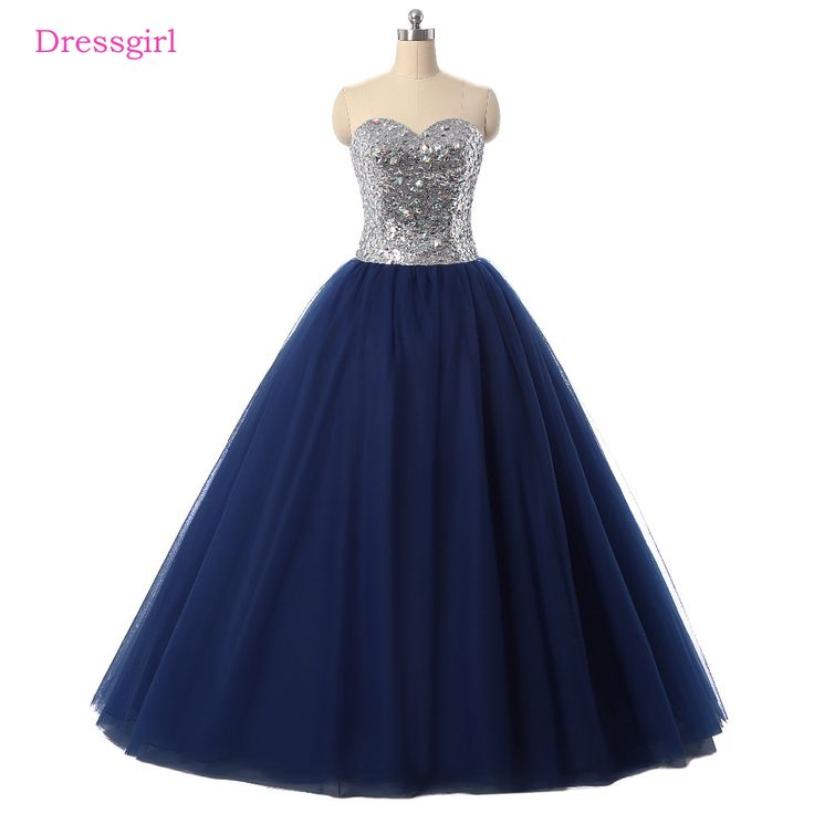 Navy Blue Cheap Quinceanera Dresses 2018 Ball Gown Sweetheart Floor Length Tulle Sequins Crystals Sweet 16 Dresses. Yesterday's price: US $98.28 (81.33 EUR). Today's price: US $98.28 (81.33 EUR). Discount: 9%.