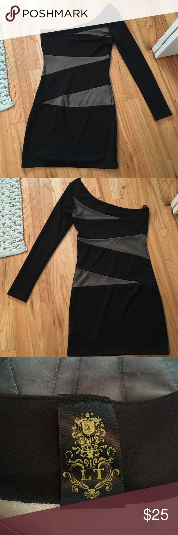 Black one shoulder dress. Nasty gal black one shoulder dress with grey mesh detail. Perfect NYE dress. Worn once. L is 31 in. Nasty Gal Dresses Mini