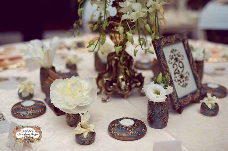 Royalty Wedding Decor - Green, Bronze, Peacock - Elegant, Vintage, European, Antique - Handmade - by Satori Art & Event Design