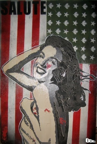"""Salute"" by Daniel Bombardier.  Mixed Media on Wood Panel"