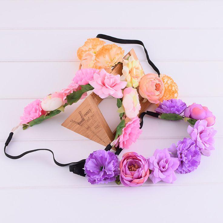 Gradient Camellia Rose Flower Elasticity Floral Headband Wedding Hairstyles Headwrap Floral Crown Wedding Women Girl Christmas #WeddingHairstyles