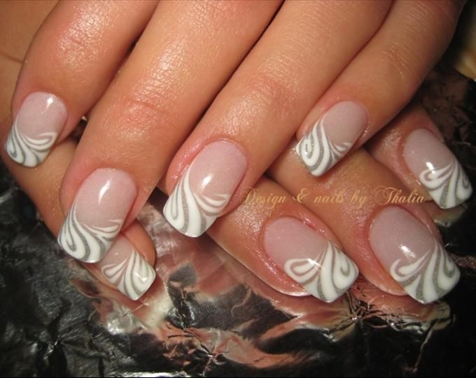 French Nail Art Design Gallery | Lined french nail art photo