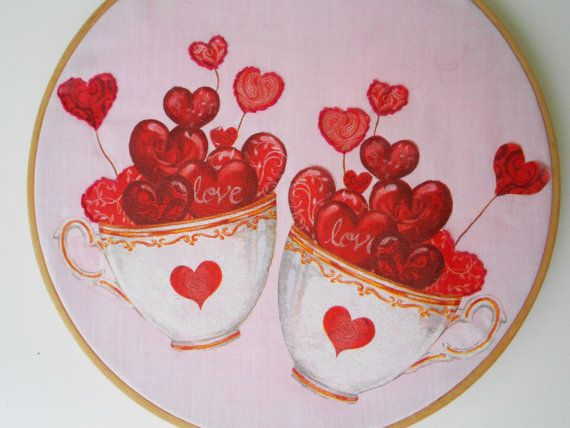 valentines embroidery hoop art decoupage wall hanging valentines day gift valentines day decor valentines idea modern embroidery