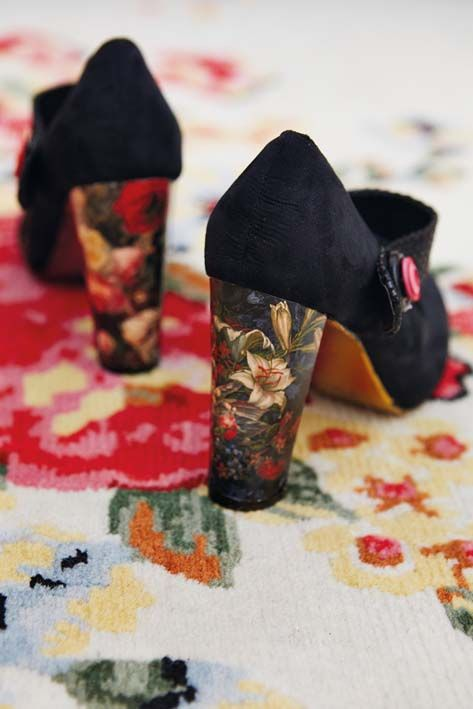 Add some personality to a pair of plain black shoes with a pretty print, a touch of gold and a button.