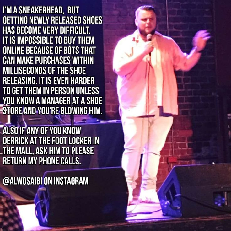 Stand up comedian talks sneakers and bots (x-post from /r/standupshots)