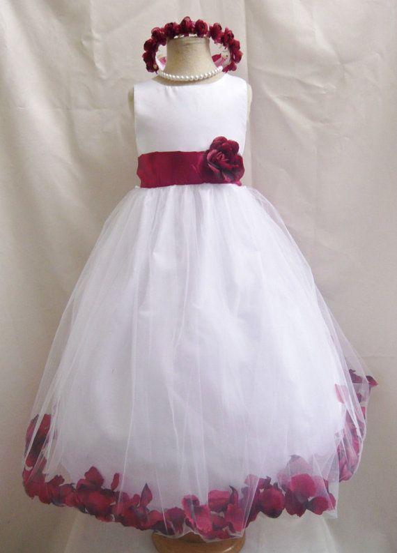Flower Girl Dress WHITE/Red Apple PETAL Wedding Children ...