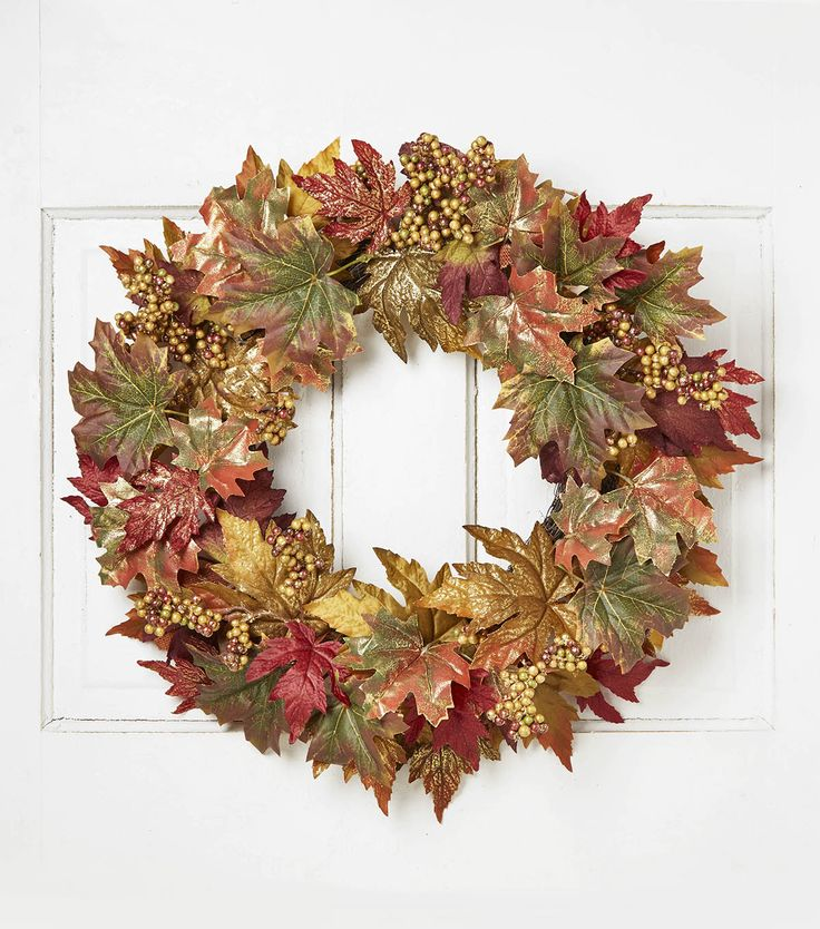 Blooming Autumn 22 Berry Maple Leaves Twig Wreath