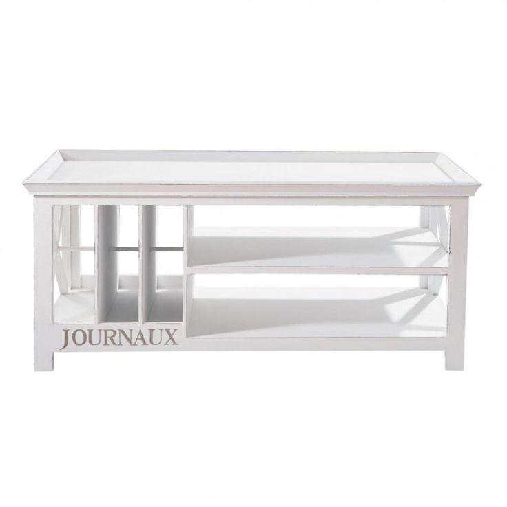 Tavolo basso bianco in legno L 108 cm