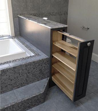 In de nieuwe badkamer, de lange tussenwand (douche tot wc) inbouwkasten inbouwen!