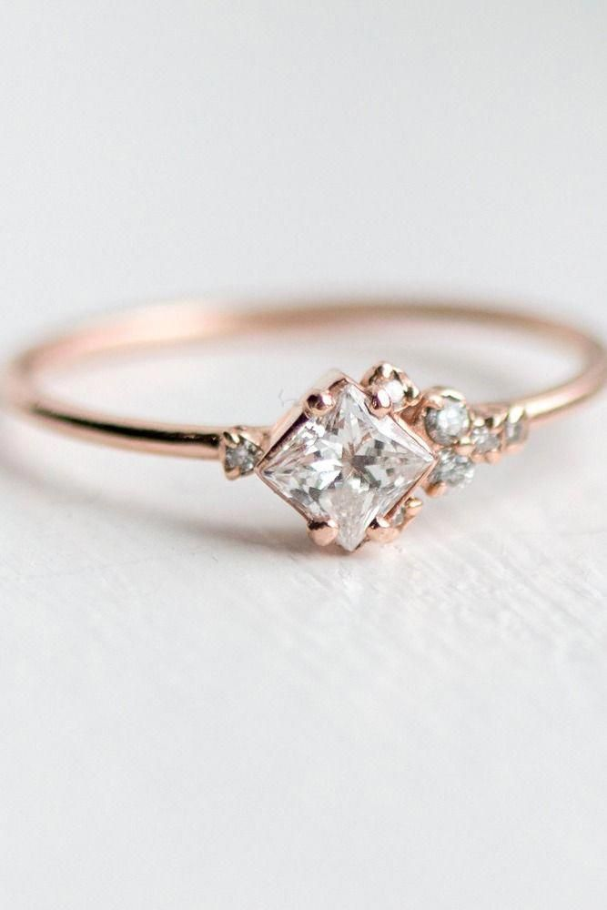 Rose Gold Engagement Ring This Asymmetrical Ring Design Is Simple