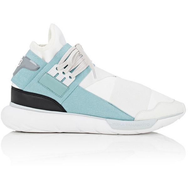 Y-3 Men's Qasa High Neoprene & Leather Sneakers ($390) ❤ liked on Polyvore featuring men's fashion, men's shoes, men's sneakers, mens black leather high top sneakers, mens high top shoes, mens leather lace up shoes, mens leather high top shoes and mens high top sneakers