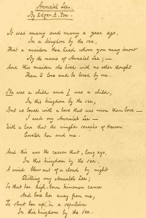 written explaination of annabel lee But a caged bird stands on the grave of dreams.