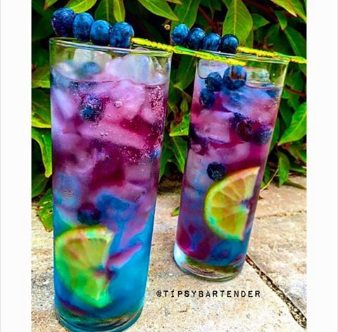 NORTHERN LIGHTS 1 oz. (30ml) Smirnoff Sours Berry Lemon 1 oz. (30ml) Deep Eddy Lemon Vodka Top with Red Bull Blueberry Lemon Wedges Blueberries