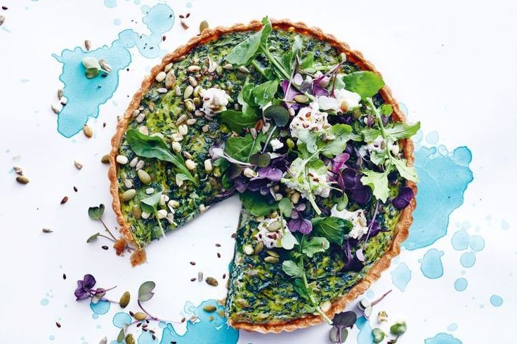 Start the evening right with this leftover greens, seeds and cheese tart. It's delicious, colourful and packed full of flavour.