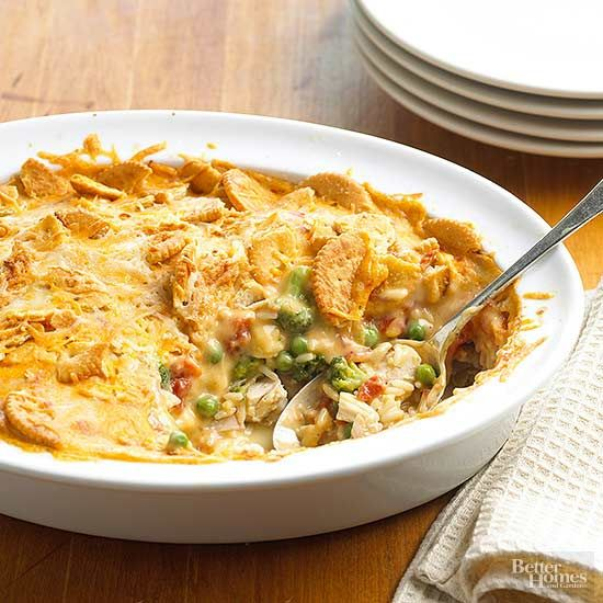 This one dish chicken casserole recipe features a delicious mix of broccoli, chicken, green chiles, and rice.